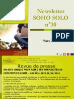 Newsletter Soho Solo n°30 Mars-2010