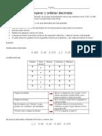 Comparar y Ordenar Decimales