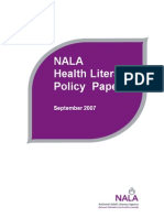 NALA Health Literacy Position Paper 2007