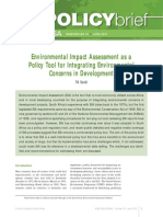 Environmental Impact Assessment as a Policy Tool for Integrating Environmental Concerns in Development