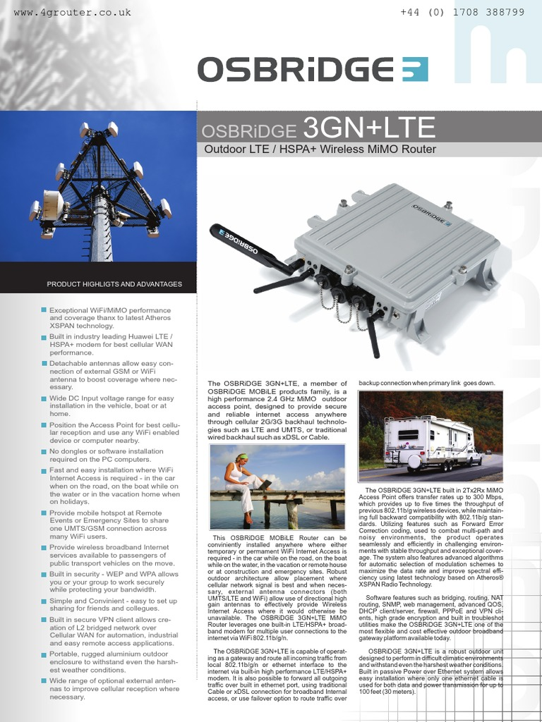 Osbridge 3gn Lte Outdoor 4g Router Datasheet Wi Fi Internet Access Mimo Wiring Diagram