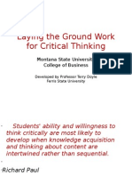 Laying the Ground Work for Critical Thinking Montana State University
