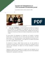 Capeco y Federación de Trabajadores en Construcción Civil Acuerdan Incrementar Jornal Básico Diario