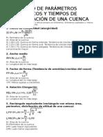 Resumen Parámetros Fisiográficos y Tiempo de Concentración