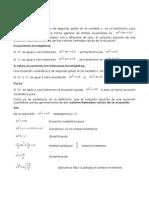 Definicion de ecuaciones cuadraticas