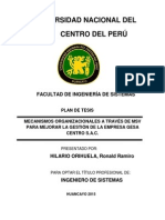 MECANISMOS ORGANIZACIONALES A TRAVÉS DE MSV PARA MEJORAR LA GESTIÓN DE LA EMPRESA GESA CENTRO S.A.C.