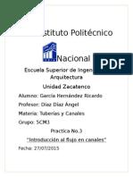 Practica tres Tuberias y Canales Instituto Politecnico Nacional