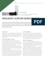 Pragmatic supplier management