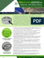 Accendo GloGreen Series 600W HPS Digital HID (DHID) Retrofit Ballast Operates High-Pressure Sodium HID Light Bulbs