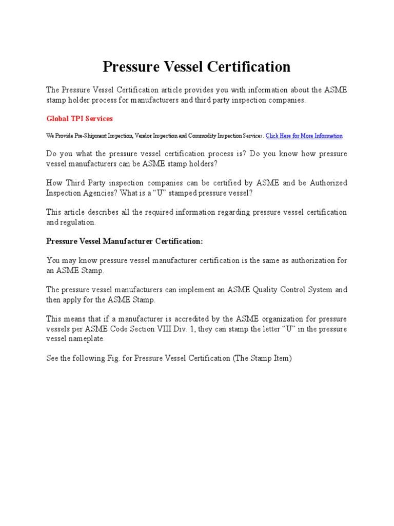 Pressure Vessel Certification Audit Certification