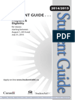 Student Aid Programs & Eligibility Guide 2014 for BC, Canada