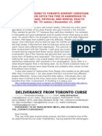 Deliverance From Toronto Curse