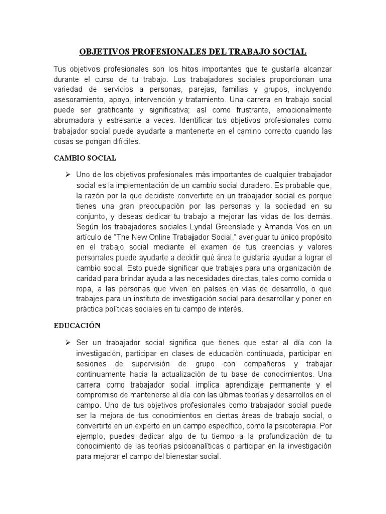 OBJETIVOS PROFESIONALES DEL TRABAJO SOCIAL Y LINEA DEL TIEMPO 1810 ...