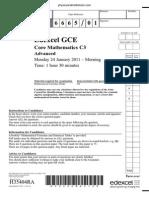 January 2011 QP - C3 Edexcel