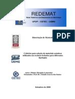 Critérios Para Seleção de Materiais Acusticos Utilizados Em Recintos Fechados p Diferentes Tipologias