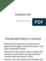 Castleton Polling Institute's Sept. 2015 Vermont presidential poll
