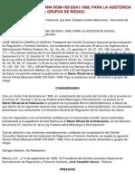 NOM-169-SSA1-1998 Para La Sistencia Social Alimentaria a Grupos de Riesgo