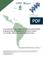 Continuidad de Negocios y Operaciones Frente a Situaciones de Desastre