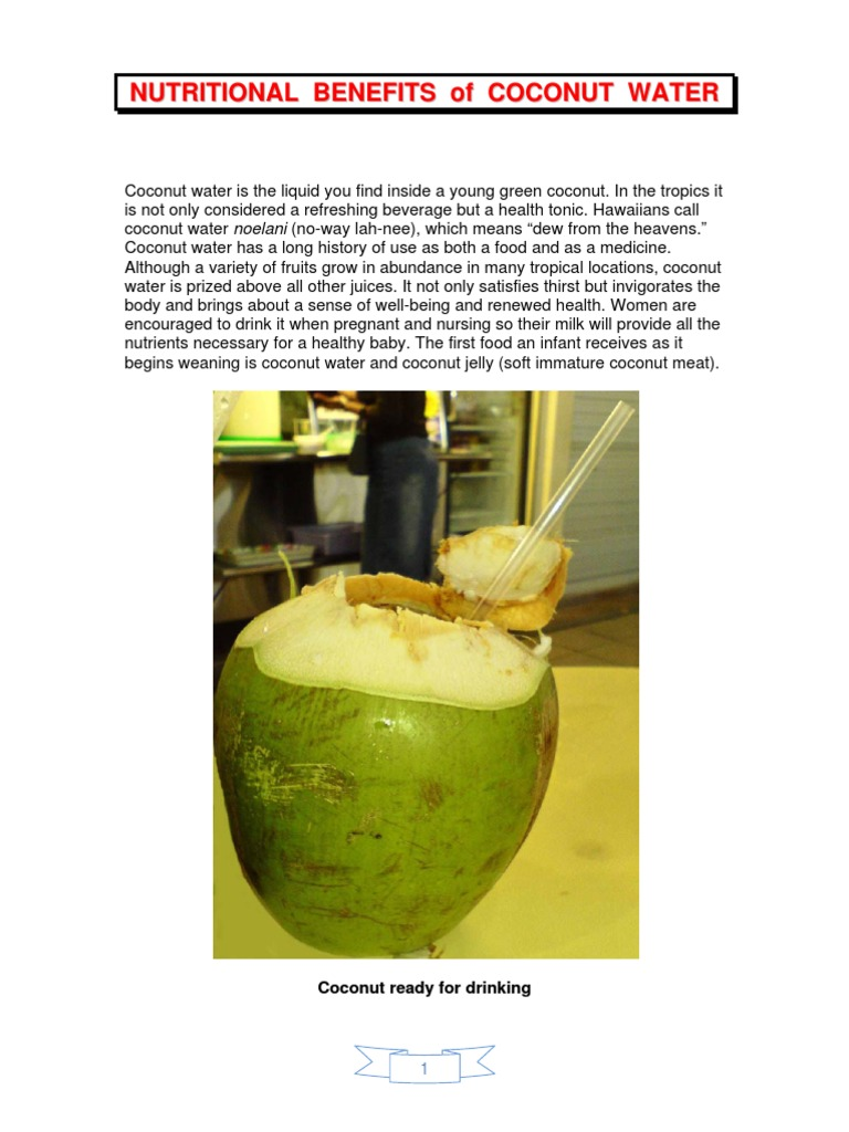 nutritional benefits of coconut water (tender coconut
