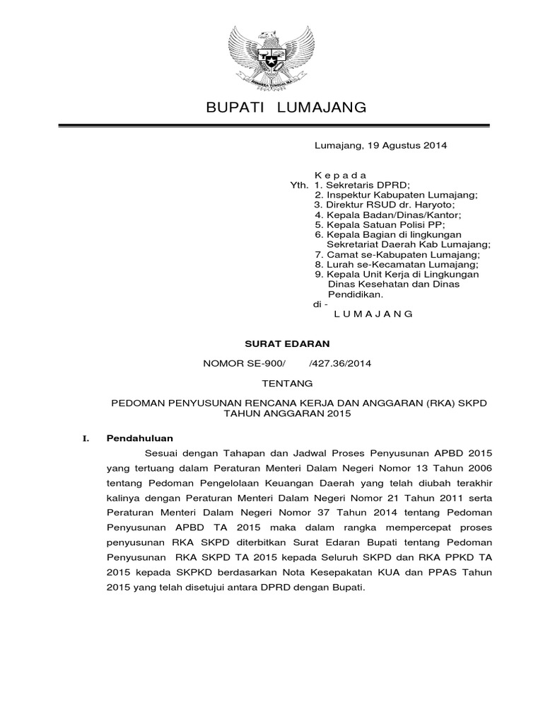 2 Surat Edaran Pedoman Penyusunan Rka Skpd Ta 2015