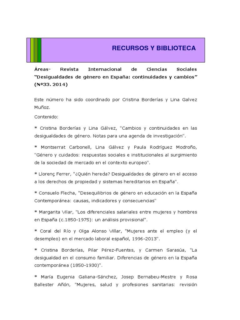 Revista Areas Desigualdades De Genero En Espana