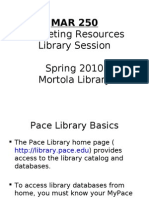MAR 250 Marketing Resources Library Session Spring