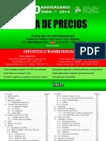 Lista de precios y cotizaciones en impresiones.