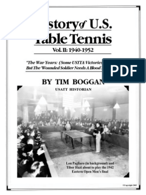 History of U S  Table Tennis - Vol  II: 1940-1952 | Table Tennis