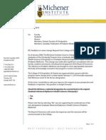 Letter - Chiropody vs Podiatric Medicine - Name Change Feedback - March 2010
