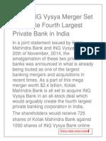 Kotak-ING Vysya Merger Set To Create Fourth Largest Private Bank in India