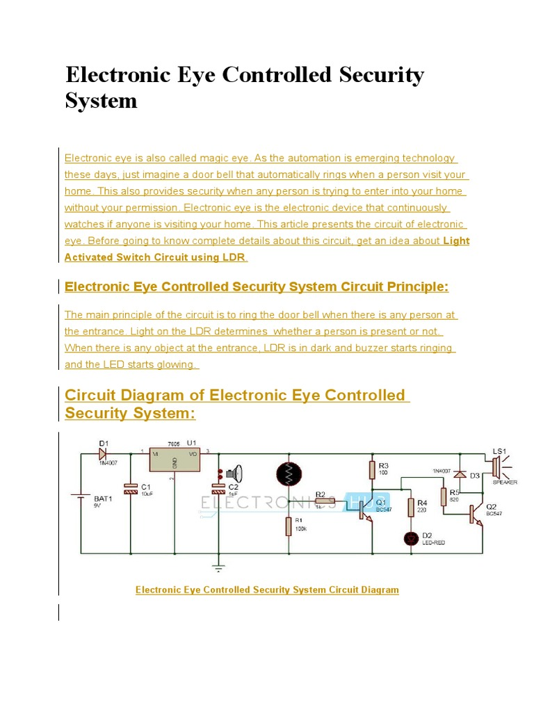 Electronic Eye Controlled Security System | Electronic Circuits | P ...