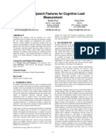 Potential Speech Features for Cognitive Load Measurement