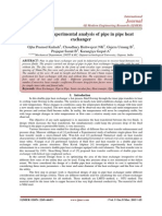 Design and experimental analysis of pipe in pipe heat exchanger