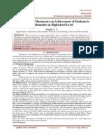 Effectiveness of Mnemonics on Achievement of Students in Mathematics at Highschool Level