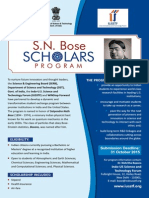 SN Bose Scholars Program Flyer Indian Student