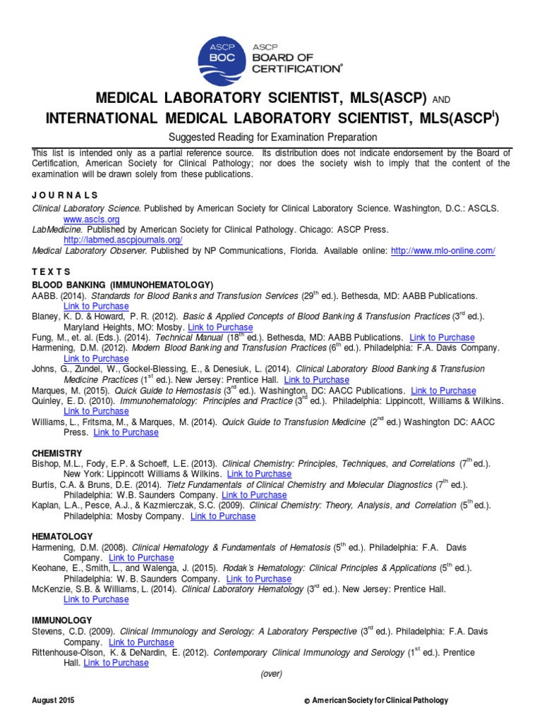 mls imls reading list 8 15 medical laboratory pathology rh scribd com