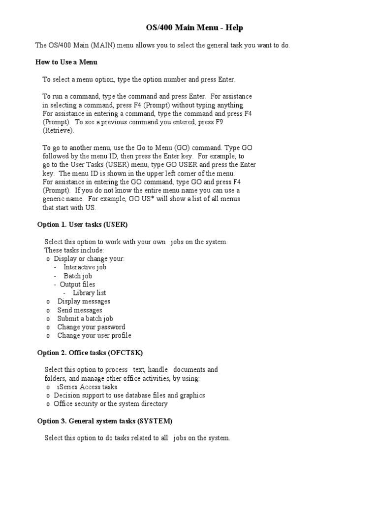 As400 Main Menu- Help | Menu (Computing) | Command Line Interface