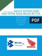 Analisa Kasus Kepemilikan Hak Paten Pada Mesin Motor