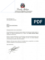 Carta de Condolencias del Presidente Danilo Medina a Divina Franco viuda Damiano por Fallecimiento de su Esposo, Antonio Damiano Milano