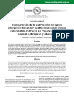 Comparación de La Estimación Del GET Por Distintas Fórmulas.
