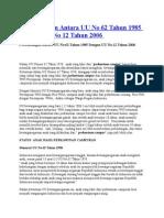 Perbandingan Antara UU No 62 Tahun 1985 Dengan UU No 12 Tahun 2006