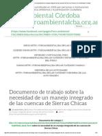 Documento de Trabajo Sobre La Necesidad de Un Manejo Integrado de Las Cuencas de Sierras Chicas _ Foro Ambiental Córdoba