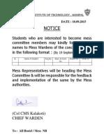 Mess Committee Notice