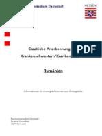 Merkblatt Zum Anerkennungsverfahren Krankenpflege Rumänien