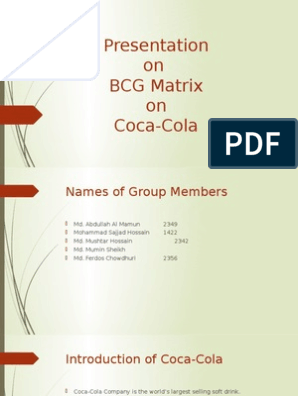Presentation on BCG Matrix on Coca-Cola | Marketing | Business Economics