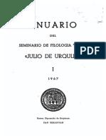 Altsasuko Euskararen Gai Batzuk. Donosita. (Julio de Urquijo Euskal Filologiako Seminarioko Urtekaria I Tomoa, 45-97 Orriak.