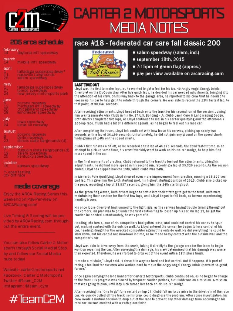 C2m Media Notessalem091915 Oval Track Racing Automotive Events