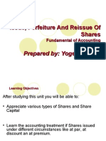 Issue and Forfeiture and Reissued of Shares