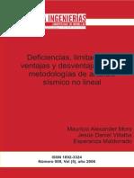 Deficiencias, Limitaciones, Ventajas y Desventajas de Las Metodologías de Análisis Sísmico No Lineal
