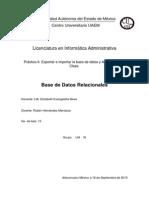 Práctica 6. Exportar e Importar La Base de Datos y Actividad Extra Clase.